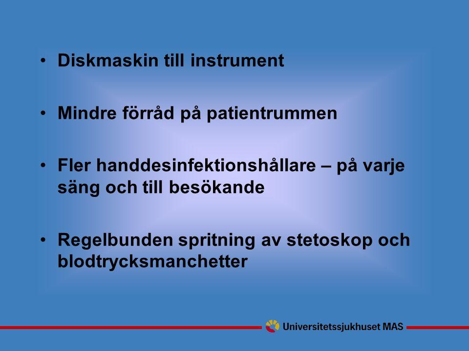 Diskmaskin till instrument Mindre förråd på patientrummen Fler handdesinfektionshållare – på varje säng och till besökande Regelbunden spritning av stetoskop och blodtrycksmanchetter