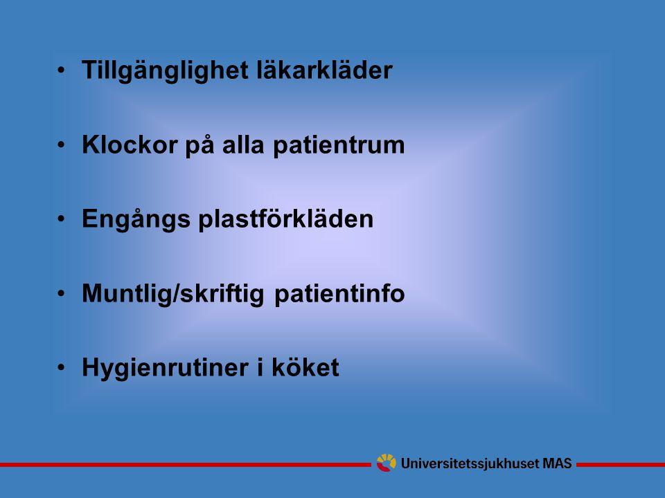 Tillgänglighet läkarkläder Klockor på alla patientrum Engångs plastförkläden Muntlig/skriftig patientinfo Hygienrutiner i köket