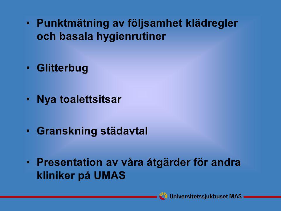 Punktmätning av följsamhet klädregler och basala hygienrutiner Glitterbug Nya toalettsitsar Granskning städavtal Presentation av våra åtgärder för andra kliniker på UMAS