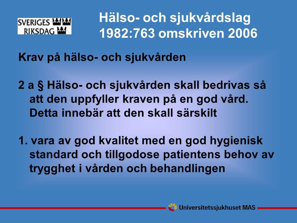 Hälso- och sjukvårdslag 1982:763 omskriven 2006 Krav på hälso- och sjukvården 2 a § Hälso- och sjukvården skall bedrivas så att den uppfyller kraven på en god vård.