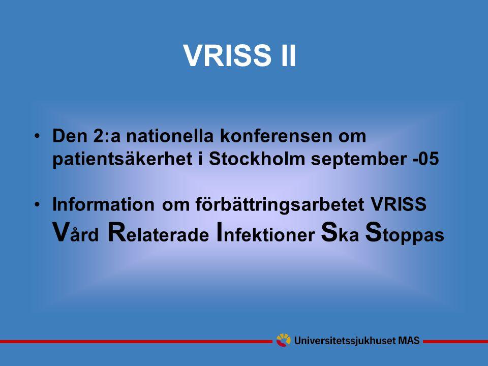 VRISS II Den 2:a nationella konferensen om patientsäkerhet i Stockholm september -05 Information om förbättringsarbetet VRISS V ård R elaterade I nfektioner S ka S toppas