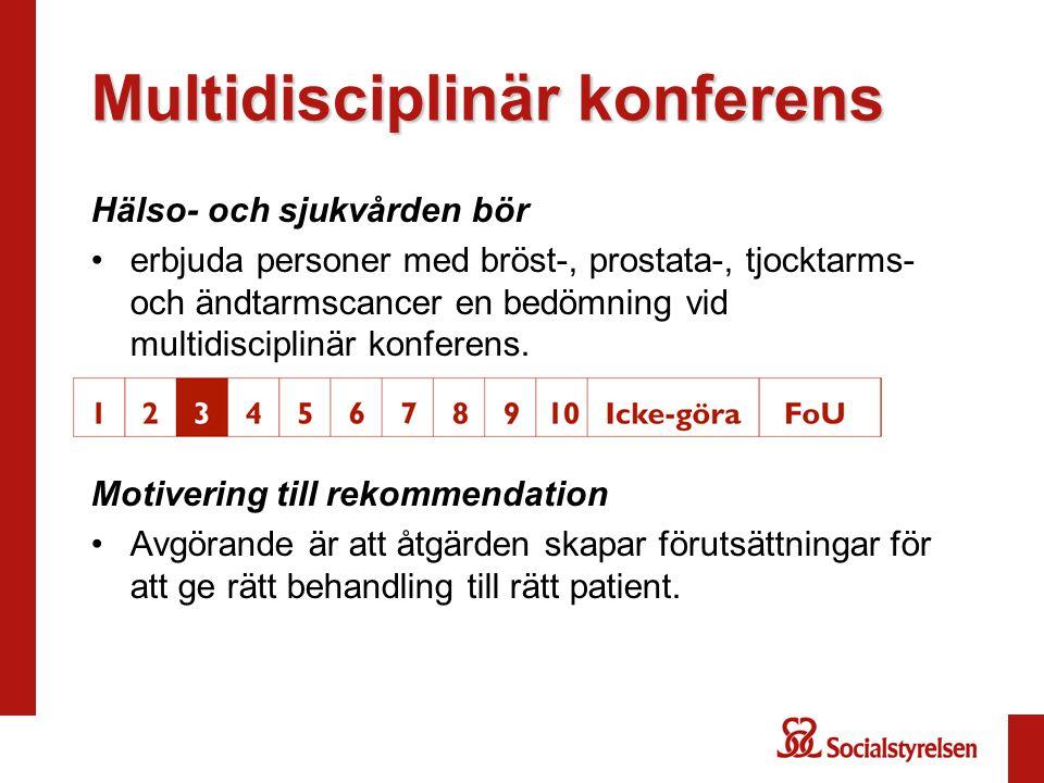 Multidisciplinär konferens Hälso- och sjukvården bör erbjuda personer med bröst-, prostata-, tjocktarms- och ändtarmscancer en bedömning vid multidisciplinär konferens.
