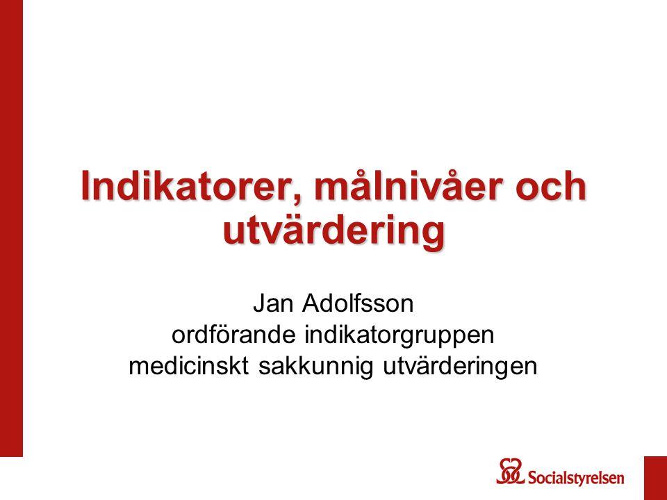 Indikatorer, målnivåer och utvärdering Jan Adolfsson ordförande indikatorgruppen medicinskt sakkunnig utvärderingen