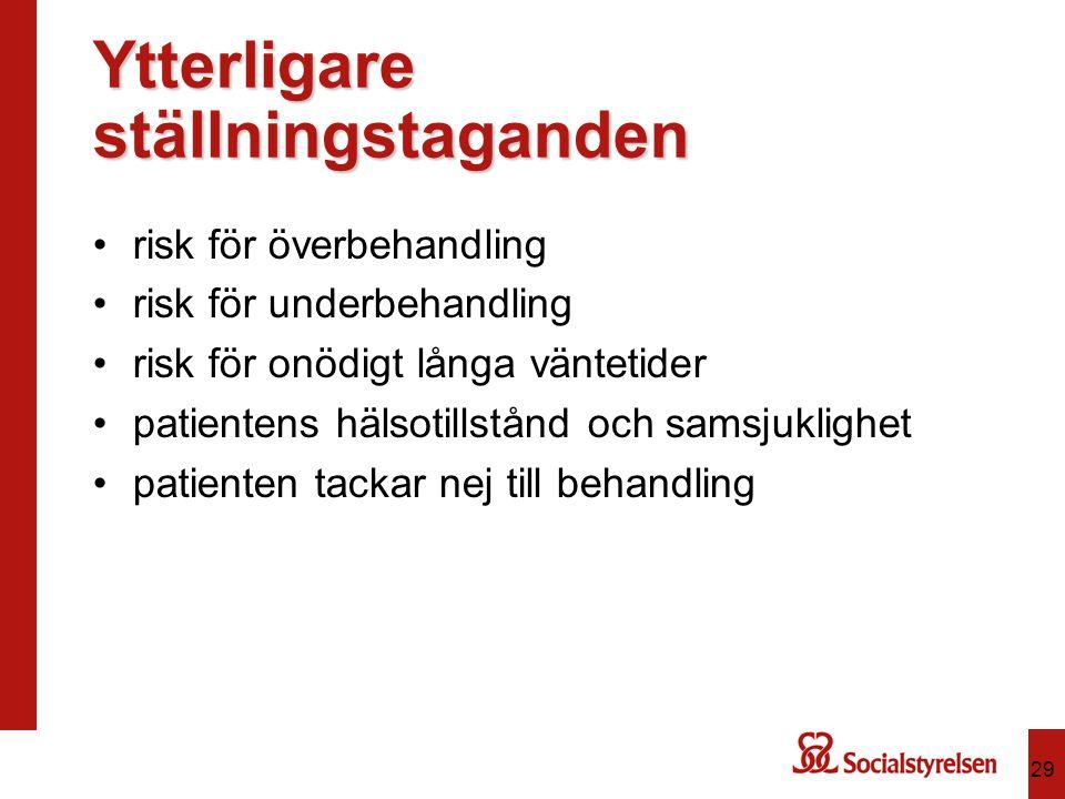 Ytterligare ställningstaganden risk för överbehandling risk för underbehandling risk för onödigt långa väntetider patientens hälsotillstånd och samsjuklighet patienten tackar nej till behandling 29
