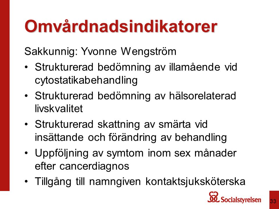 Omvårdnadsindikatorer Sakkunnig: Yvonne Wengström Strukturerad bedömning av illamående vid cytostatikabehandling Strukturerad bedömning av hälsorelaterad livskvalitet Strukturerad skattning av smärta vid insättande och förändring av behandling Uppföljning av symtom inom sex månader efter cancerdiagnos Tillgång till namngiven kontaktsjuksköterska 33