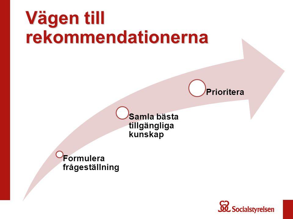 Vägen till rekommendationerna Formulera frågeställning Samla bästa tillgängliga kunskap Prioritera