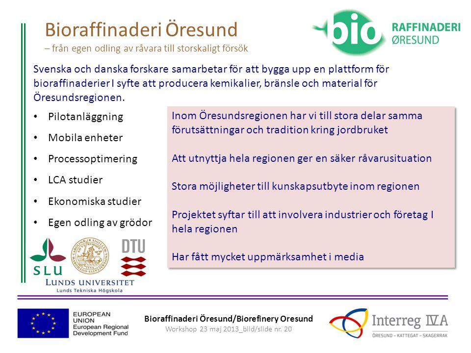 Bioraffinaderi Öresund/Biorefinery Oresund Workshop 23 maj 2013_bild/slide nr.