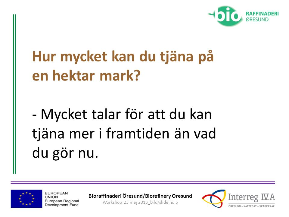 Bioraffinaderi Öresund/Biorefinery Oresund Workshop 23 maj 2013_bild/slide nr. 6