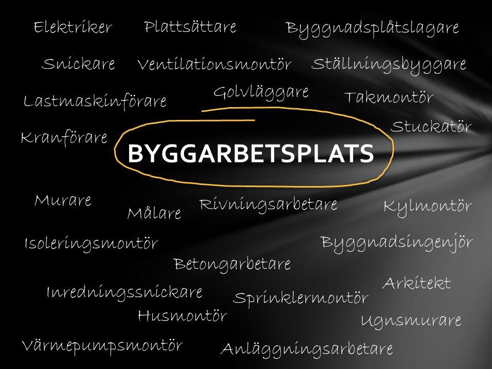 BYGGARBETSPLATS Snickare Elektriker Byggnadsplåtslagare Plattsättare Inredningssnickare Kylmontör Murare Målare Betongarbetare Isoleringsmontör Kranfö