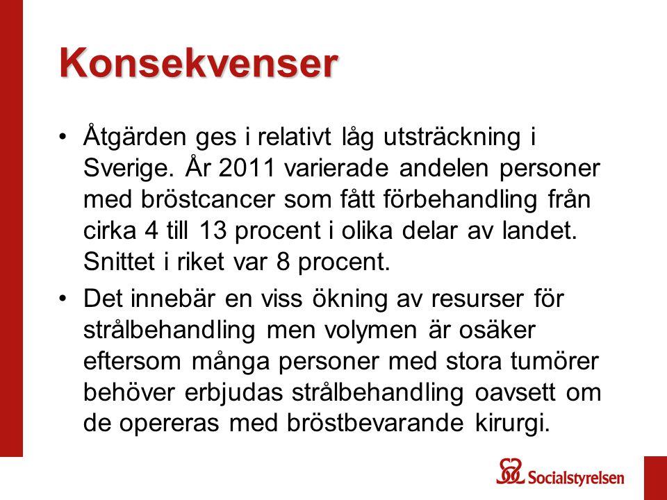 Konsekvenser Åtgärden ges i relativt låg utsträckning i Sverige. År 2011 varierade andelen personer med bröstcancer som fått förbehandling från cirka