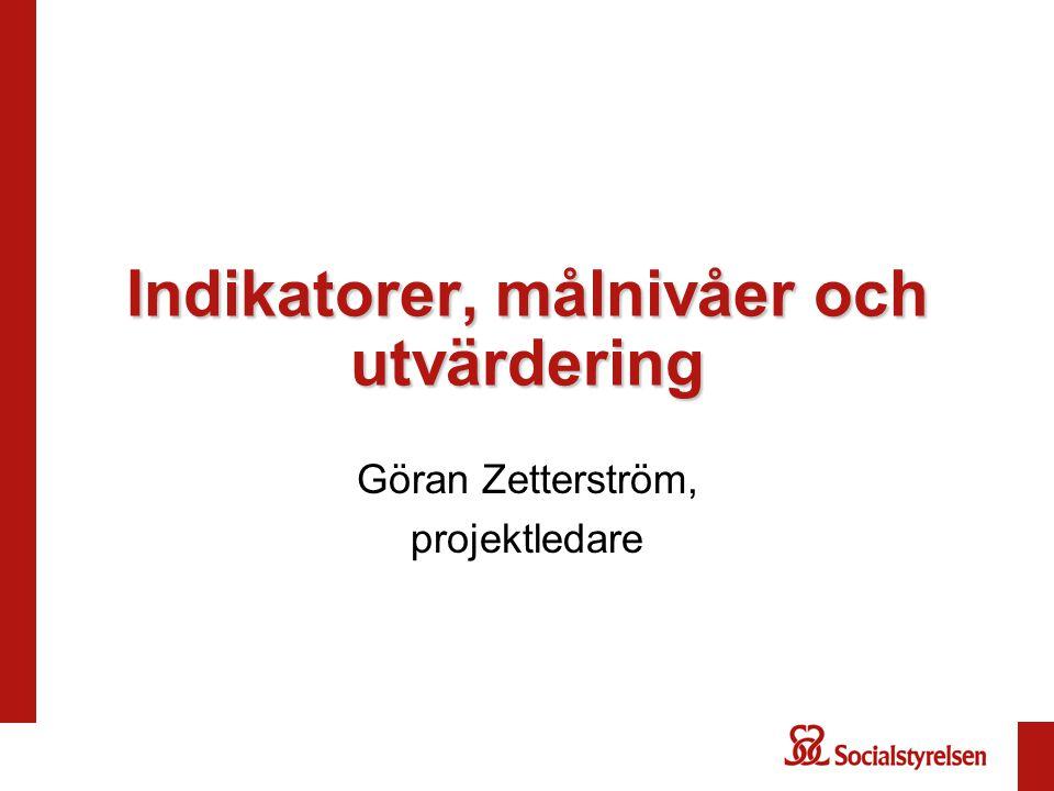 Indikatorer, målnivåer och utvärdering Göran Zetterström, projektledare