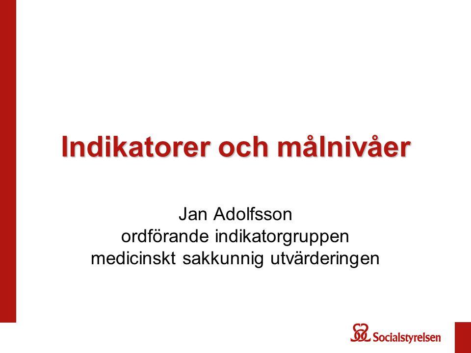 Indikatorer och målnivåer Jan Adolfsson ordförande indikatorgruppen medicinskt sakkunnig utvärderingen