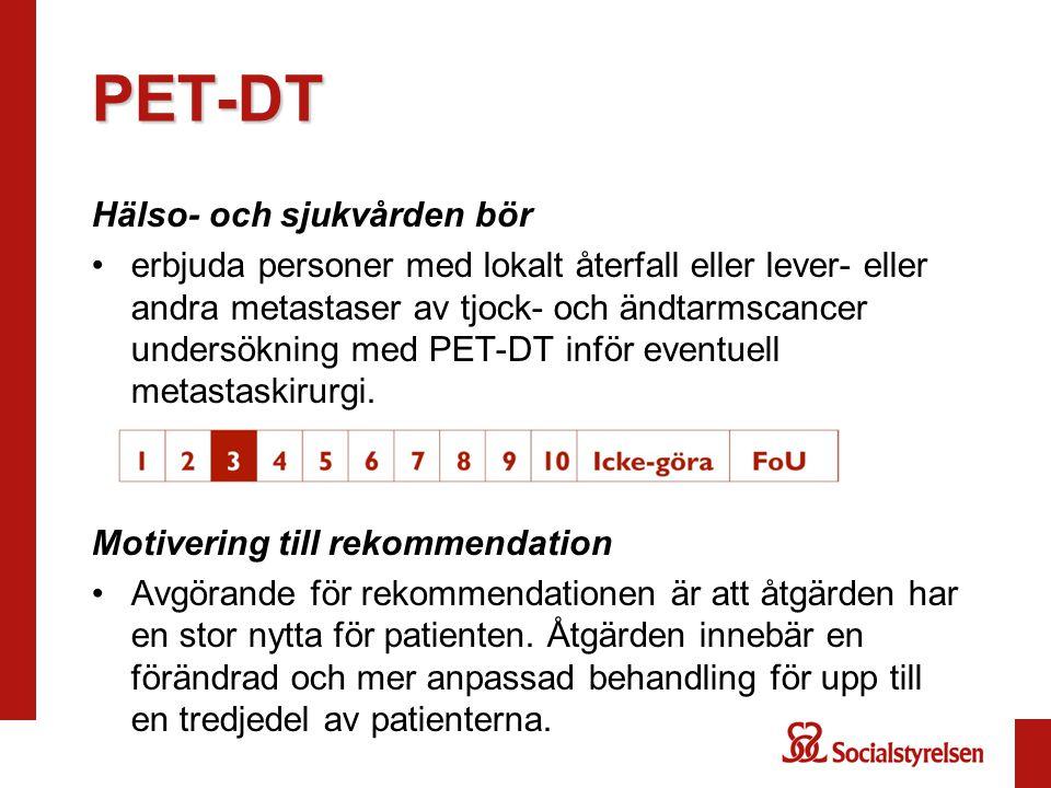 PET-DT Hälso- och sjukvården bör erbjuda personer med lokalt återfall eller lever- eller andra metastaser av tjock- och ändtarmscancer undersökning me