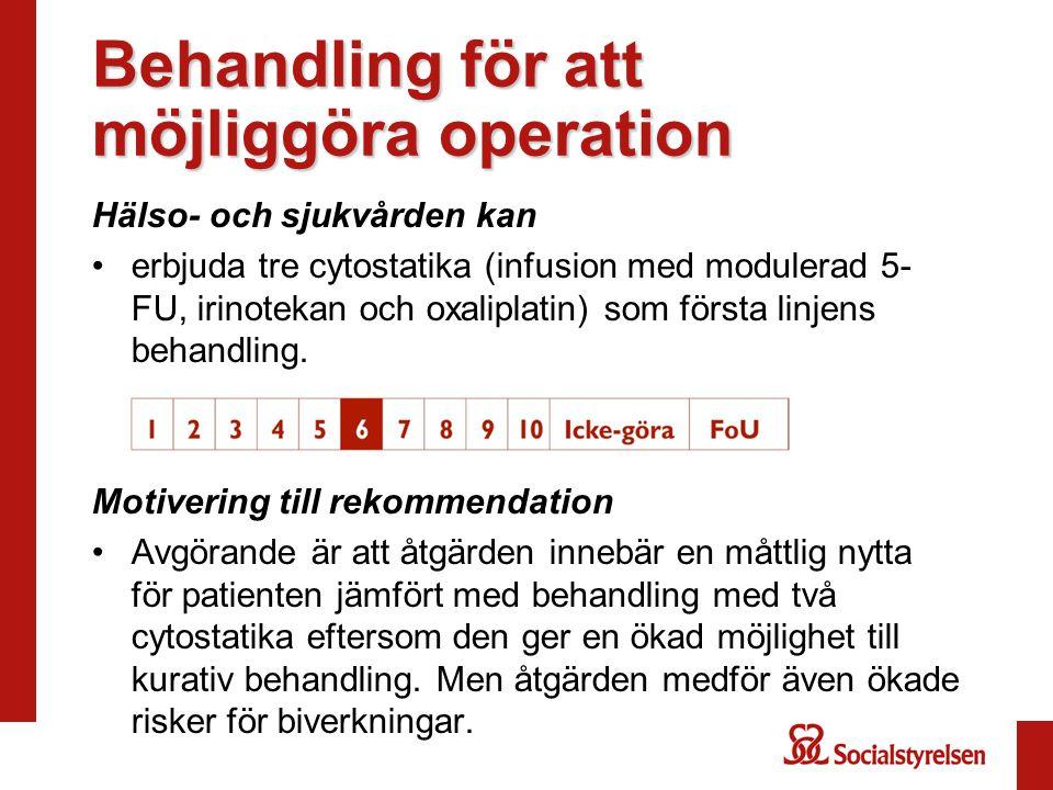 Behandling för att möjliggöra operation Hälso- och sjukvården kan erbjuda tre cytostatika (infusion med modulerad 5- FU, irinotekan och oxaliplatin) s