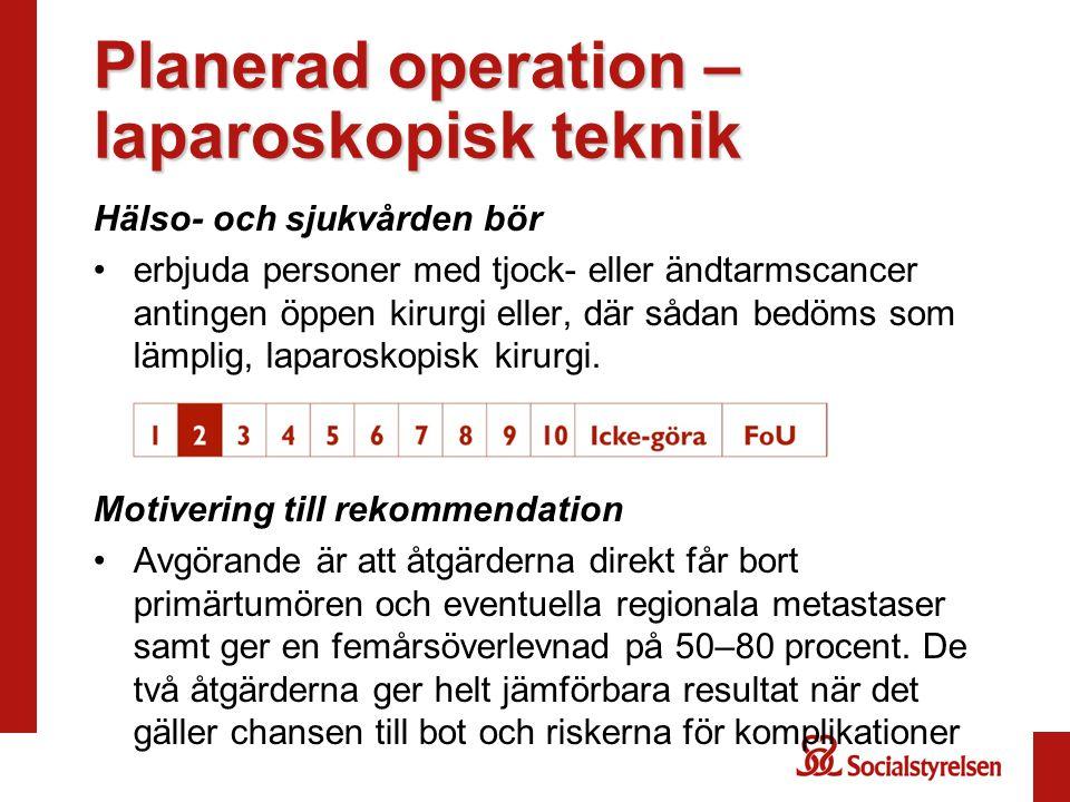 Planerad operation – laparoskopisk teknik Hälso- och sjukvården bör erbjuda personer med tjock- eller ändtarmscancer antingen öppen kirurgi eller, där