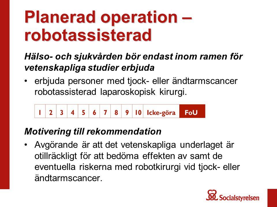 Planerad operation – robotassisterad Hälso- och sjukvården bör endast inom ramen för vetenskapliga studier erbjuda erbjuda personer med tjock- eller ä