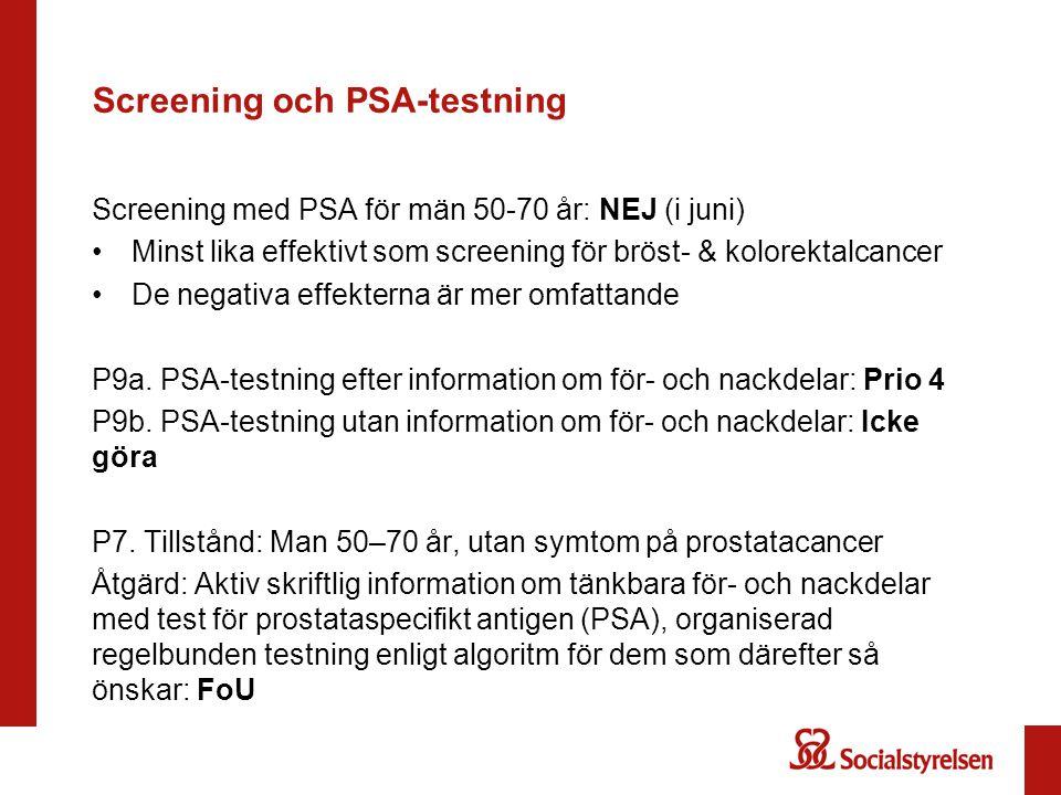 Screening och PSA-testning Screening med PSA för män 50-70 år: NEJ (i juni) Minst lika effektivt som screening för bröst- & kolorektalcancer De negati