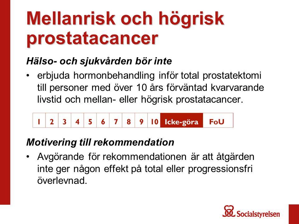 Mellanrisk och högrisk prostatacancer Hälso- och sjukvården bör inte erbjuda hormonbehandling inför total prostatektomi till personer med över 10 års