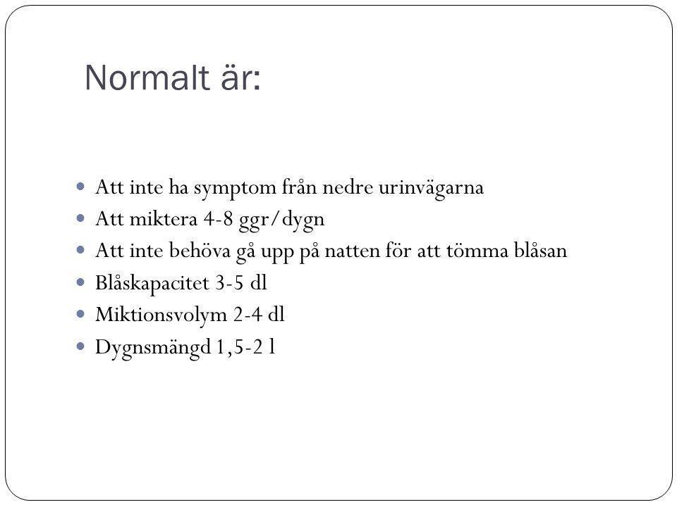 Normalt är: Att inte ha symptom från nedre urinvägarna Att miktera 4-8 ggr/dygn Att inte behöva gå upp på natten för att tömma blåsan Blåskapacitet 3-5 dl Miktionsvolym 2-4 dl Dygnsmängd 1,5-2 l