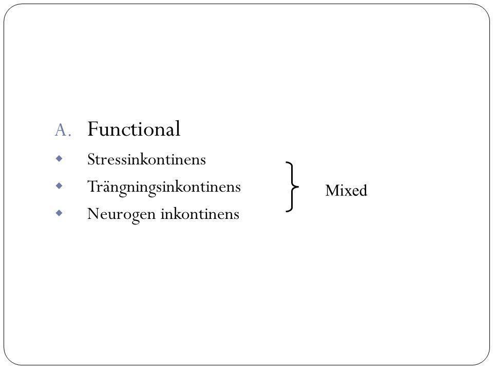 A. Functional  Stressinkontinens  Trängningsinkontinens  Neurogen inkontinens Mixed