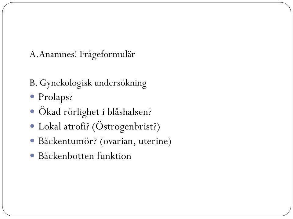 A.Anamnes.Frågeformulär B. Gynekologisk undersökning Prolaps.