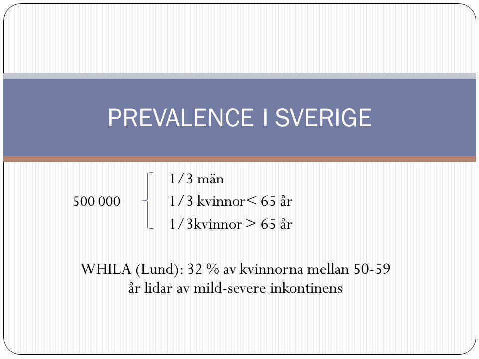 1/3 män 500 000 1/3 kvinnor< 65 år 1/3kvinnor > 65 år WHILA (Lund): 32 % av kvinnorna mellan 50-59 år lidar av mild-severe inkontinens PREVALENCE I SVERIGE