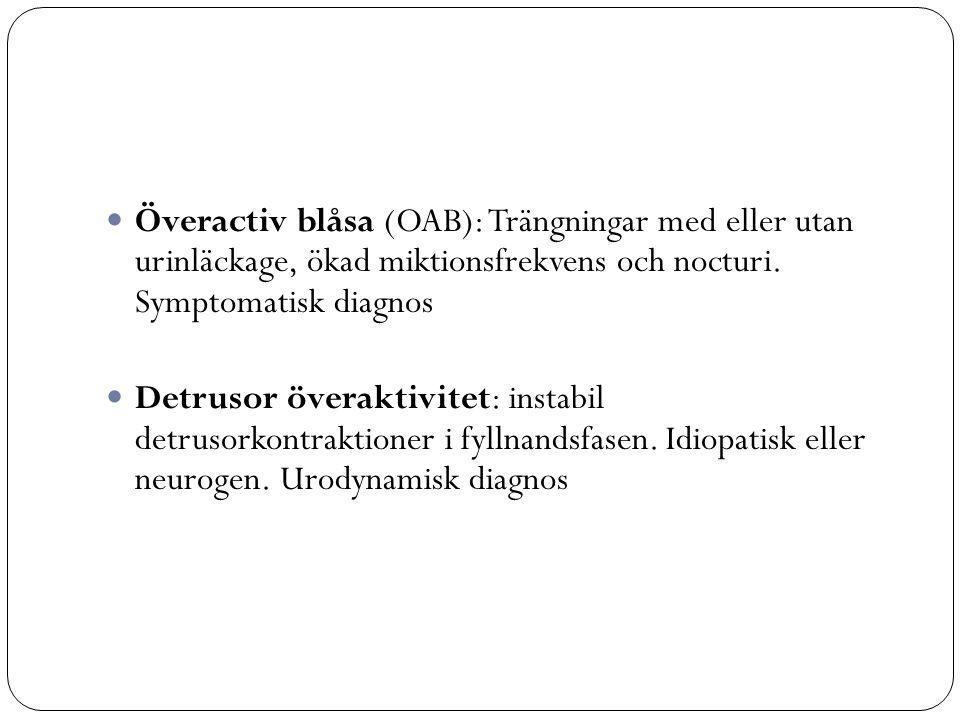 Överactiv blåsa (OAB): Trängningar med eller utan urinläckage, ökad miktionsfrekvens och nocturi.