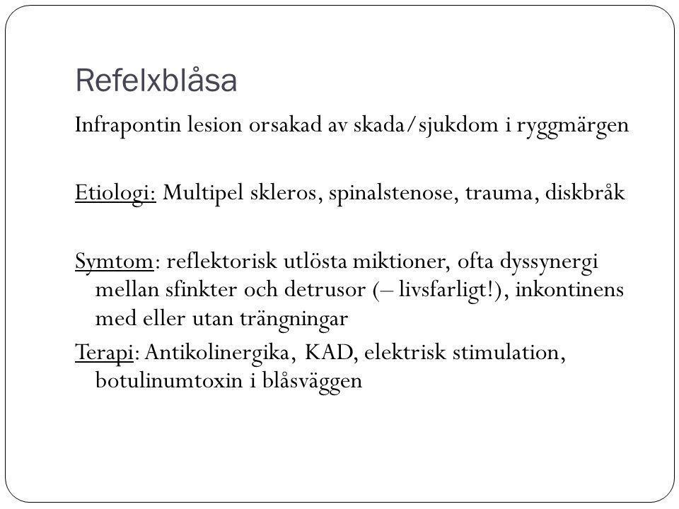 Refelxblåsa Infrapontin lesion orsakad av skada/sjukdom i ryggmärgen Etiologi: Multipel skleros, spinalstenose, trauma, diskbråk Symtom: reflektorisk utlösta miktioner, ofta dyssynergi mellan sfinkter och detrusor (– livsfarligt!), inkontinens med eller utan trängningar Terapi: Antikolinergika, KAD, elektrisk stimulation, botulinumtoxin i blåsväggen