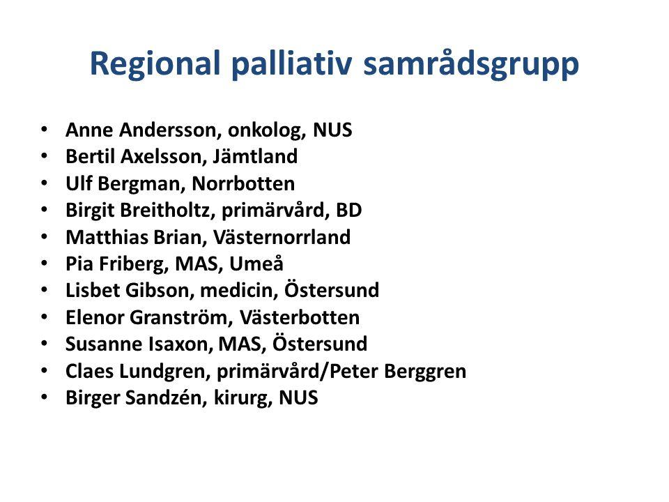 Regional palliativ samrådsgrupp Anne Andersson, onkolog, NUS Bertil Axelsson, Jämtland Ulf Bergman, Norrbotten Birgit Breitholtz, primärvård, BD Matth