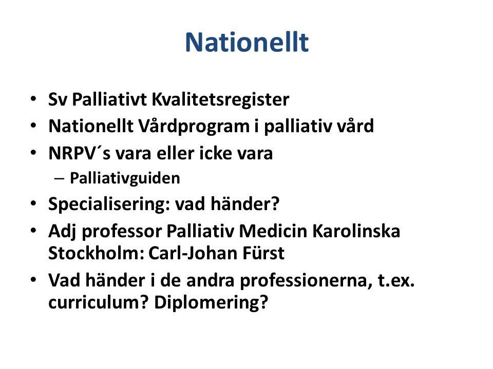 Nationellt Sv Palliativt Kvalitetsregister Nationellt Vårdprogram i palliativ vård NRPV´s vara eller icke vara – Palliativguiden Specialisering: vad h