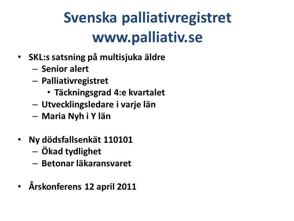Svenska palliativregistret www.palliativ.se SKL:s satsning på multisjuka äldre – Senior alert – Palliativregistret Täckningsgrad 4:e kvartalet – Utvec