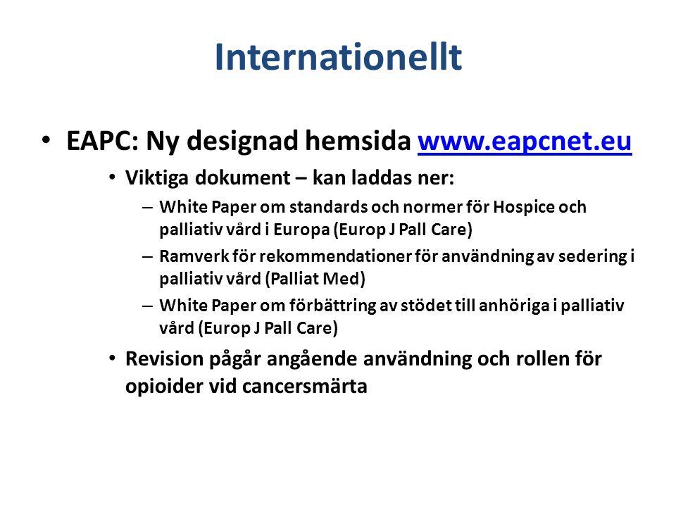 Internationellt European Palliative Care Research Center (PRC) startat okt 2009 i Trondheim http://www.ntnu.edu/prc http://www.ntnu.edu/prc Har bjudit in till att vara med i studier, bl a en stor studie: A European symtom palliative care study, a prospective data collection in cancer patients.