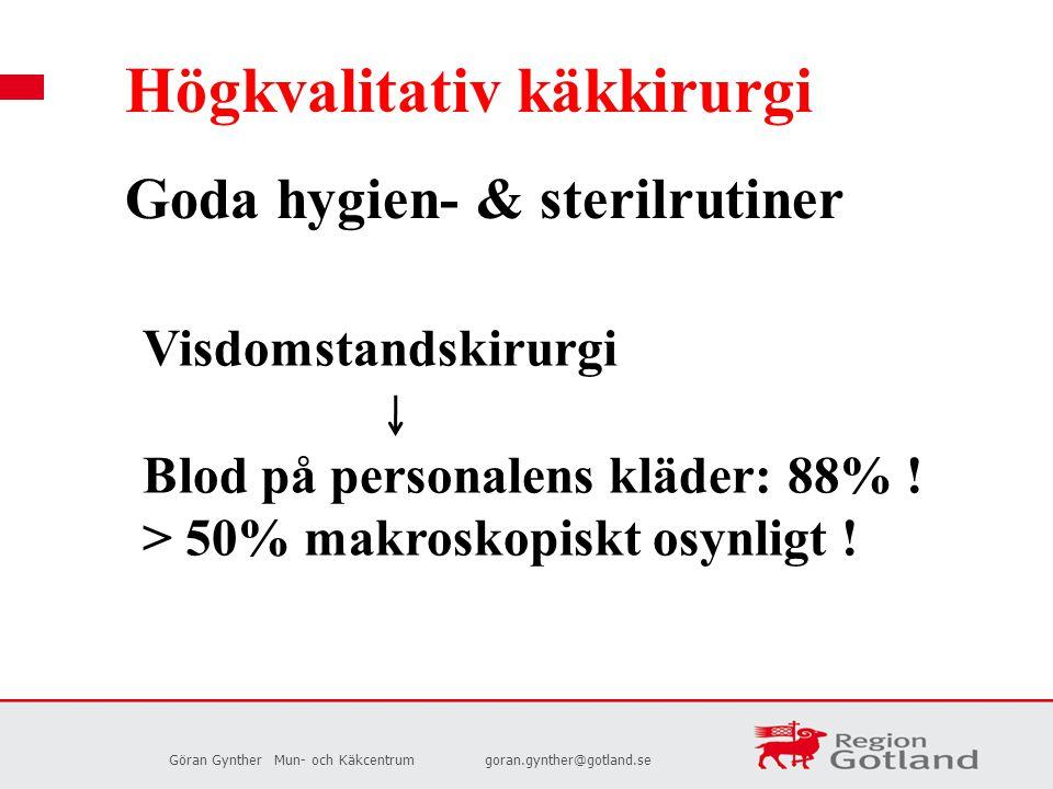 Göran GyntherMun- och Käkcentrumgoran.gynther@gotland.se Högkvalitativ käkkirurgi Goda hygien- & sterilrutiner Visdomstandskirurgi Blod på personalens