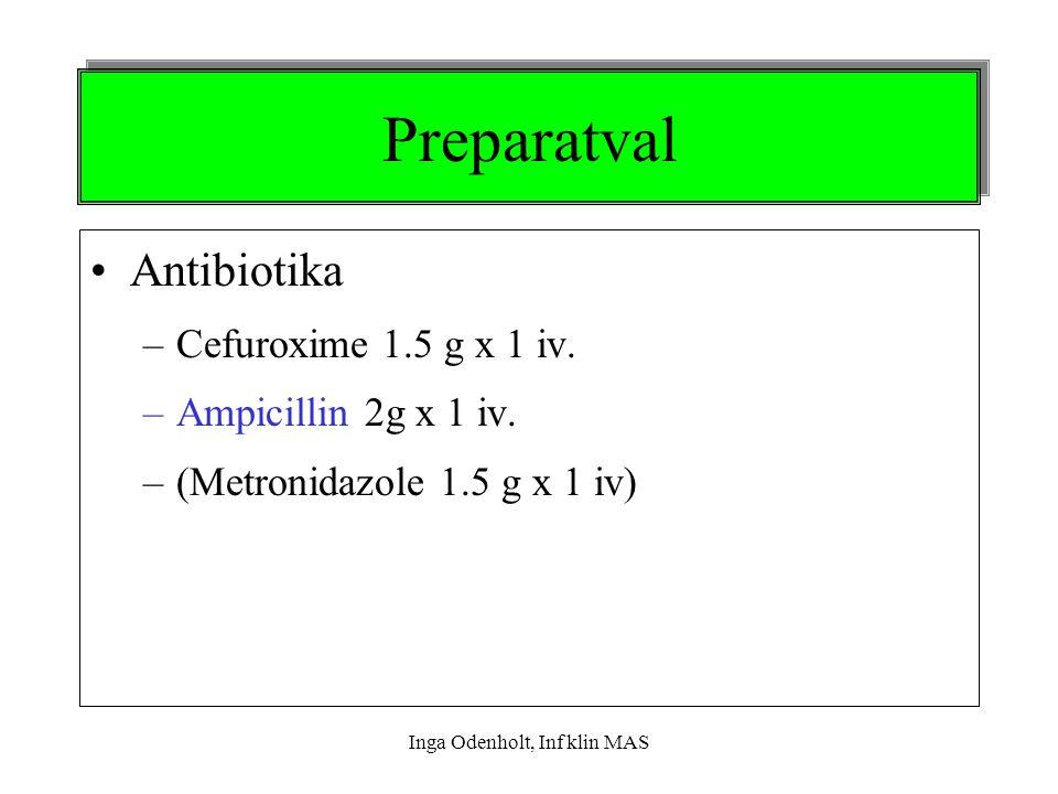 Inga Odenholt, Inf klin MAS Preparatval Antibiotika –Cefuroxime 1.5 g x 1 iv. –Ampicillin 2g x 1 iv. –(Metronidazole 1.5 g x 1 iv)