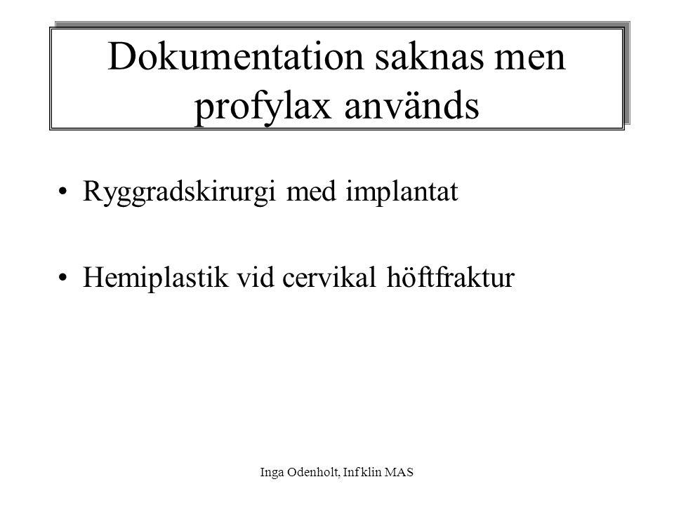 Inga Odenholt, Inf klin MAS Ryggradskirurgi med implantat Hemiplastik vid cervikal höftfraktur Dokumentation saknas men profylax används