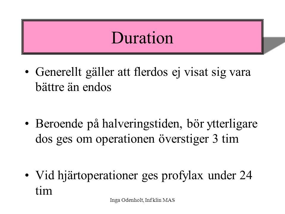 Inga Odenholt, Inf klin MAS Duration Generellt gäller att flerdos ej visat sig vara bättre än endos Beroende på halveringstiden, bör ytterligare dos g