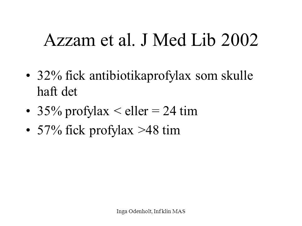 Inga Odenholt, Inf klin MAS Azzam et al. J Med Lib 2002 32% fick antibiotikaprofylax som skulle haft det 35% profylax < eller = 24 tim 57% fick profyl