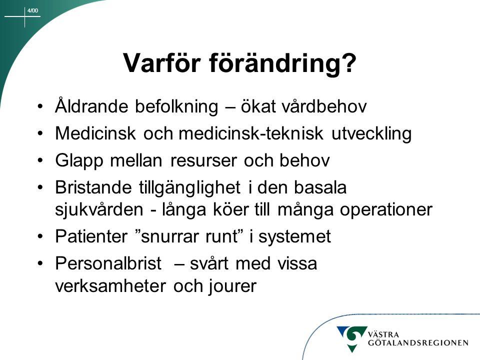 4/00 Sjukhuset i Falköping Sjukhuset i Mariestad Oförändrat uppdrag Områdesansvar för närsjukvård tillsammans med primärvården Utbyggd öppen specialistvård