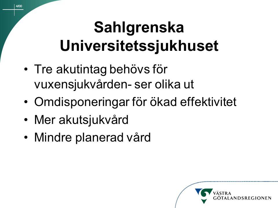 4/00 Sahlgrenska Universitetssjukhuset Tre akutintag behövs för vuxensjukvården- ser olika ut Omdisponeringar för ökad effektivitet Mer akutsjukvård M