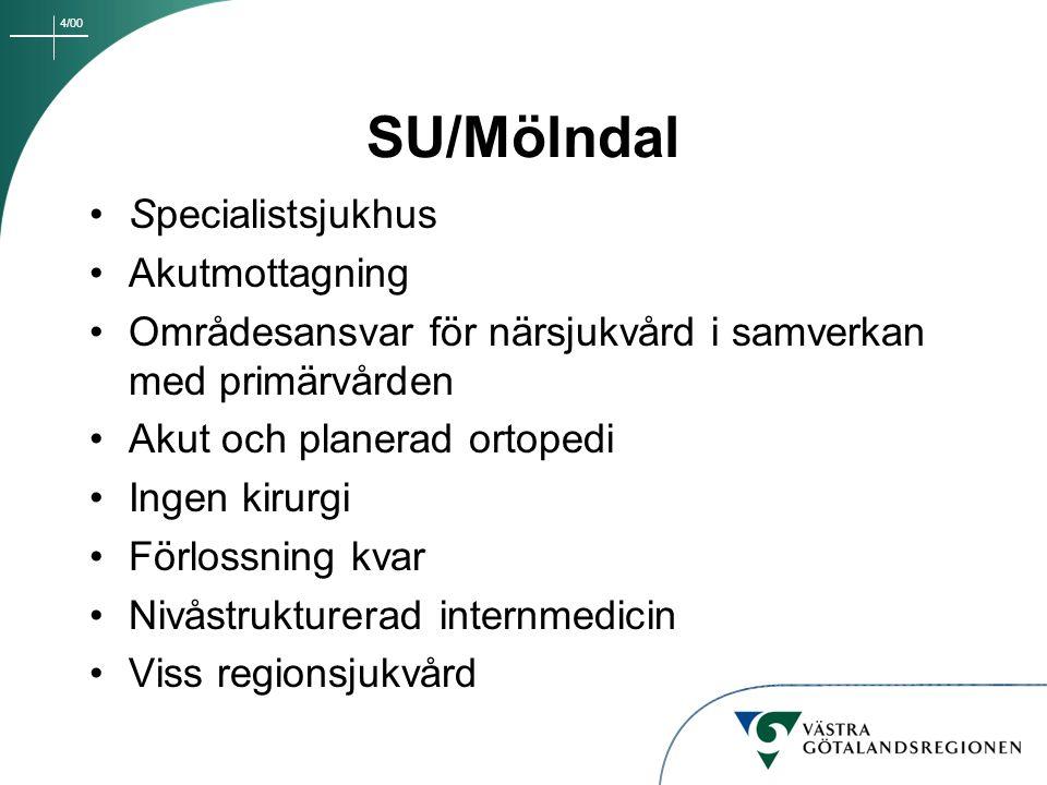 4/00 SU/Mölndal Specialistsjukhus Akutmottagning Områdesansvar för närsjukvård i samverkan med primärvården Akut och planerad ortopedi Ingen kirurgi F