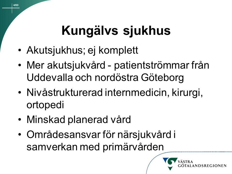 4/00 Kungälvs sjukhus Akutsjukhus; ej komplett Mer akutsjukvård - patientströmmar från Uddevalla och nordöstra Göteborg Nivåstrukturerad internmedicin