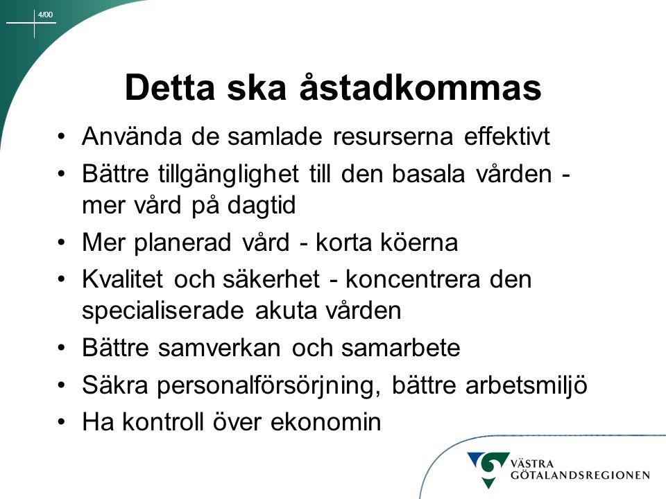 4/00 Detta ska åstadkommas Använda de samlade resurserna effektivt Bättre tillgänglighet till den basala vården - mer vård på dagtid Mer planerad vård