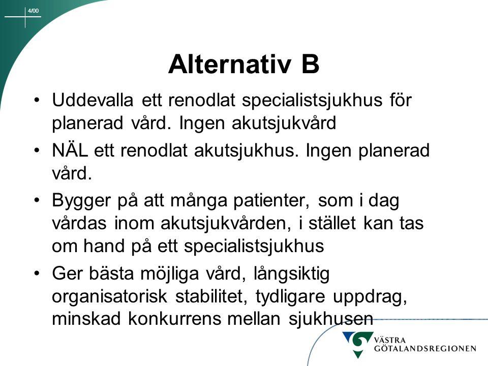 4/00 Alternativ B Uddevalla ett renodlat specialistsjukhus för planerad vård. Ingen akutsjukvård NÄL ett renodlat akutsjukhus. Ingen planerad vård. By