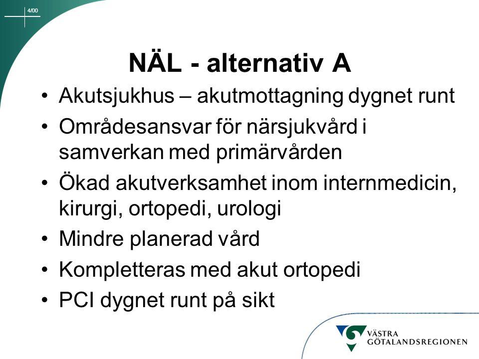 4/00 NÄL - alternativ A Akutsjukhus – akutmottagning dygnet runt Områdesansvar för närsjukvård i samverkan med primärvården Ökad akutverksamhet inom i