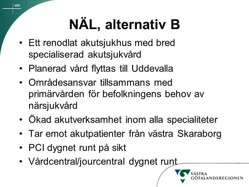 4/00 NÄL, alternativ B Ett renodlat akutsjukhus med bred specialiserad akutsjukvård Planerad vård flyttas till Uddevalla Områdesansvar tillsammans med