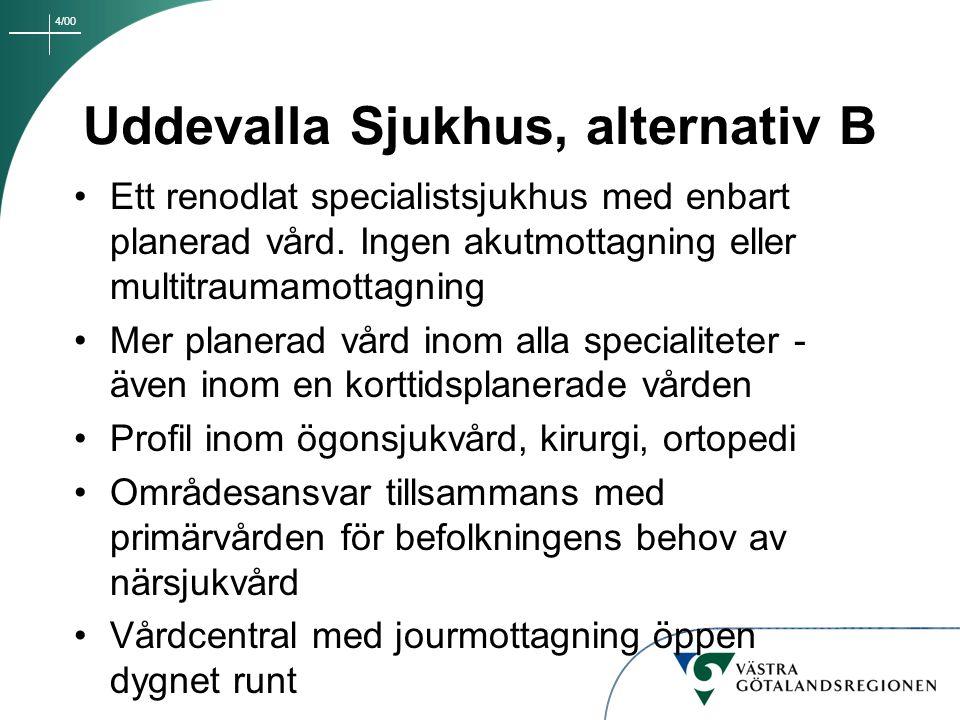 4/00 Uddevalla Sjukhus, alternativ B Ett renodlat specialistsjukhus med enbart planerad vård. Ingen akutmottagning eller multitraumamottagning Mer pla
