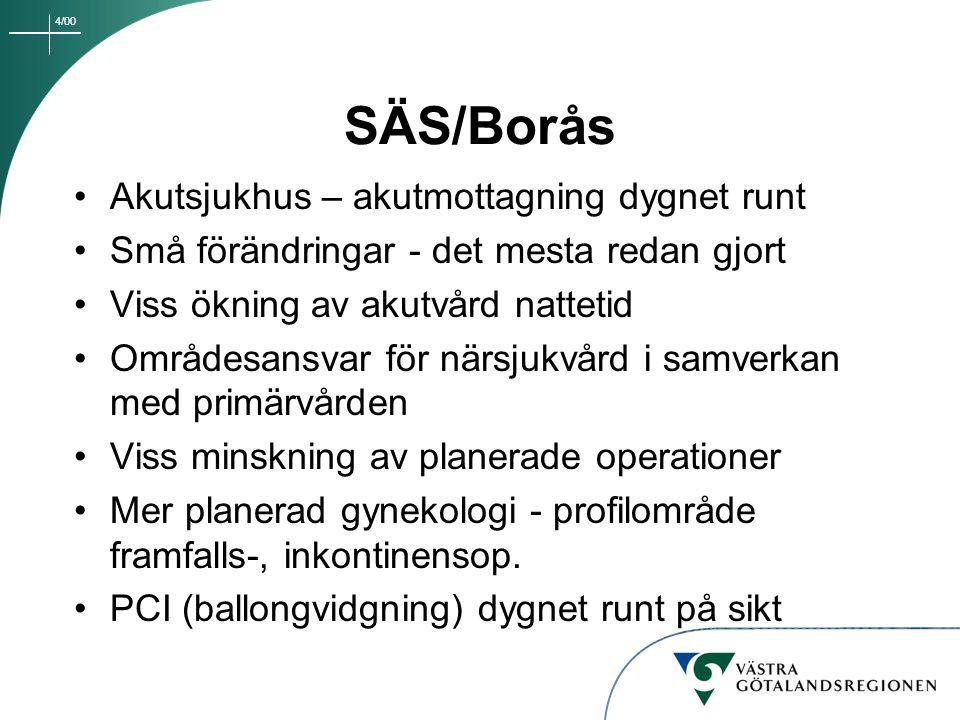 4/00 SÄS/Borås Akutsjukhus – akutmottagning dygnet runt Små förändringar - det mesta redan gjort Viss ökning av akutvård nattetid Områdesansvar för nä