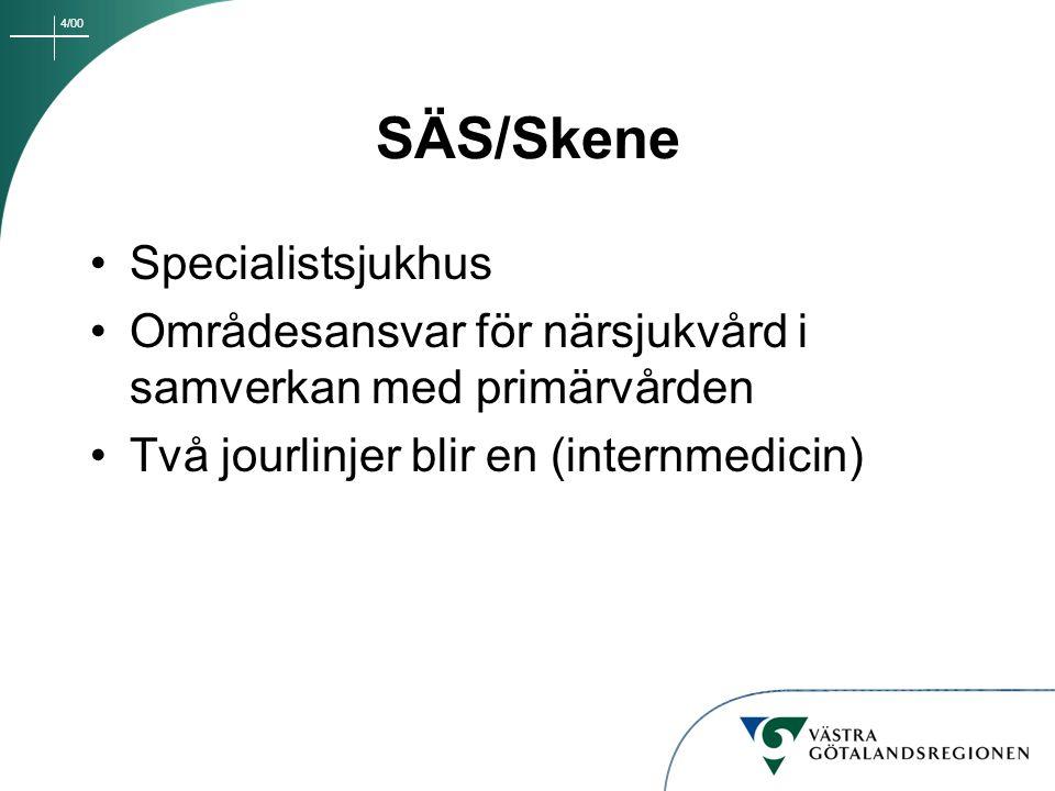 4/00 SÄS/Skene Specialistsjukhus Områdesansvar för närsjukvård i samverkan med primärvården Två jourlinjer blir en (internmedicin)