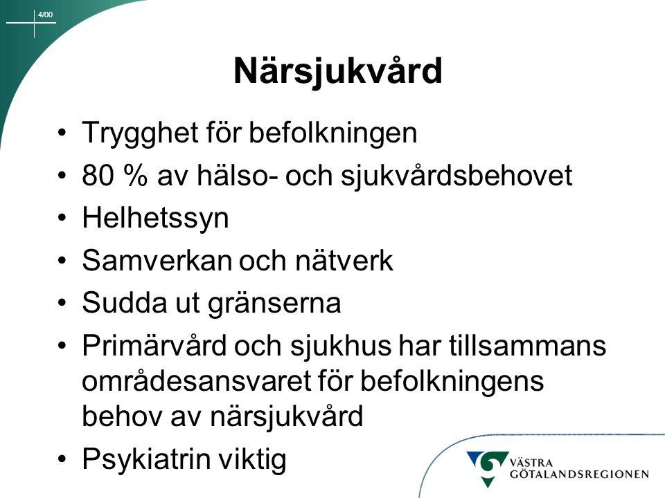 4/00 Frölunda Specialistsjukhus, Carlanderska Sjukhuset, Lundby Sjukhus Oförändrat uppdrag i nuläget Fortsatt lokalt arbete