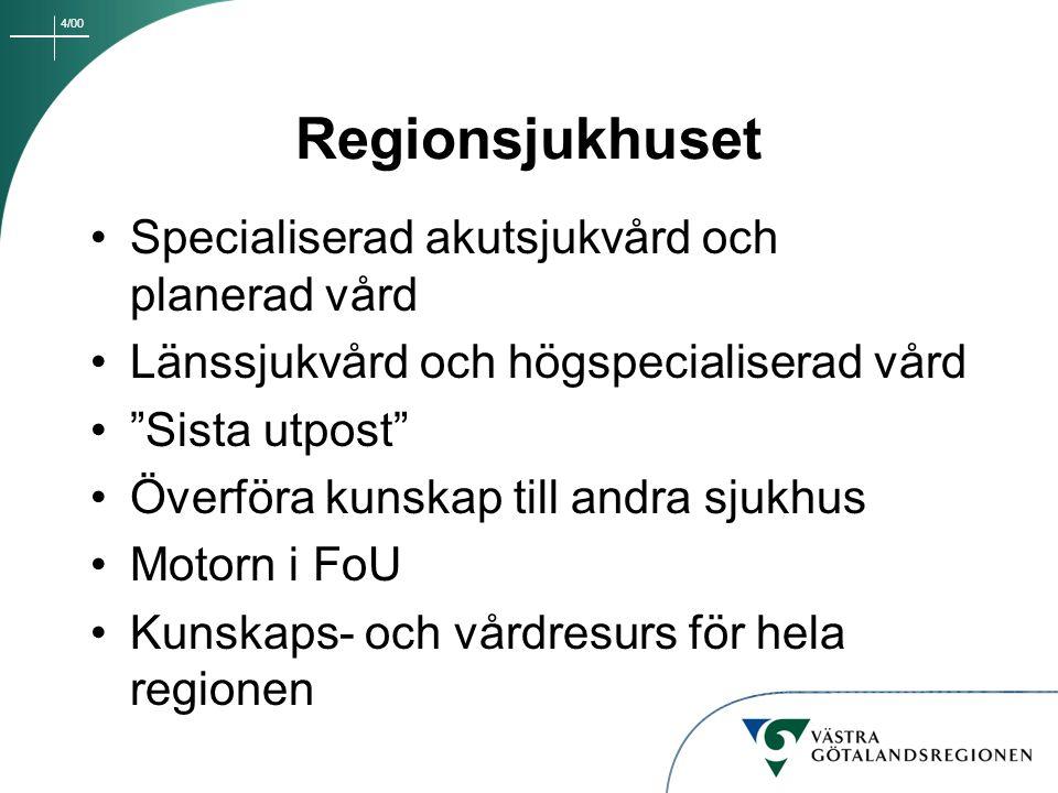 4/00 Sjukhuset i Lidköping Specialistsjukhus Fler planerade operationer - profil inom planerad kirurgi/ortopedi Områdesansvar för närsjukvård i samarbete med primärvården Öppenvårdsverksamhet med flera specialistmottagningar